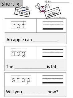 CVC SHORT O Spelling Word Work Kindergarten, 1st, and Homeschool