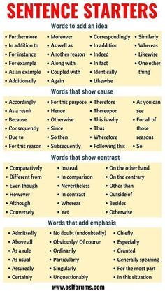 Sentence Starters: Useful Words and Phrases You Can Use As Sentence Starters - E. Sentence Starters: Useful Words and Phrases You Can Use As Sentence Starters - ESL Forums - - Quotes Essay Writing Skills, Book Writing Tips, Writing Words, Teaching Writing, Academic Writing, Dissertation Writing, Teaching Grammar, Essay Words, Study Skills
