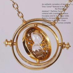 18k gold plated time turner necklace hourglass vintage pendant Hermione Granger for women lady girl wholesale >>> You can get additional details at the image link.