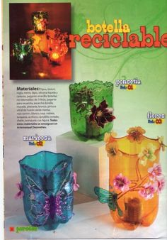 Plastic Bottle Flowers, Plastic Bottle Crafts, Plastic Art, Plastic Design, Recycle Plastic Bottles, Easy Crafts, Diy And Crafts, Aluminum Cans, Pet Bottle