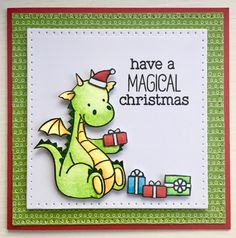 MFT / My Favorite things Magical dragons christmas card coloured with copics. www.clairmatthews.com
