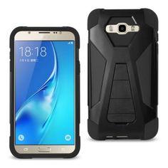 Reiko Samsung Galaxy J7(2016)/Galaxy 7 Hybrid Heavy Duty Case Blac With Kickstand