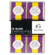 A bulk box of 8 packs of Napolitain Boxes With Compliments Dark. Each pack contains 12 squares.