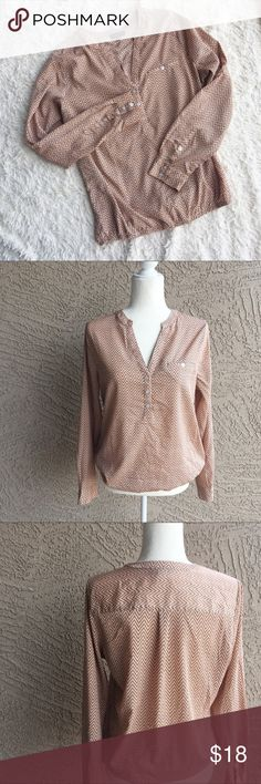 THE LIMITED Chevron Zig Zag Popover Blouse V-neck quarter button long sleeved zig-zag patterned blouse. Elastic waist for float effect. Pit to pit: , Length: ✨OFFERS WELCOME✨ The Limited Tops Blouses