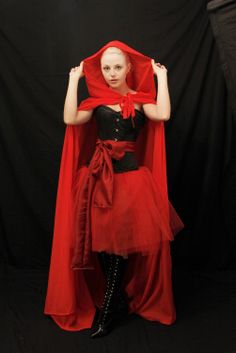 Red riding hood steel boned halloween corset -corset and sash-made for buyer. $170.00, via Etsy.