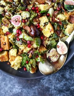brussels, bacon and cornbread panzanella salad I howsweeteats