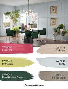 Elegance and energy go hand-in-hand with the Naturalist Palette from Sherwin-Williams. Inspired by bright flowers and lush forests it features the most down-to-earth hues from the 2019 Colormix Forecast. Click through to see the color details. Decor, Living Room Paint, Popular Living Room Colors, Living Room Colors, Paint Colors For Living Room, Red Colour Palette, Beautiful Home Designs, Popular Living Room, Cottage Paint Colors