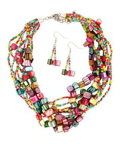 Take a look at this Lilac & Fuchsia Confetti Bead Bundle Necklace & Drop Earrings by LOLO by New Dimensions on #zulily today!