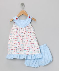 Take a look at this Blue Cherry Dress & Diaper Cover - Infant by Ruby and Rosie on #zulily today!