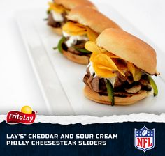 No matter where you live or who you root for, you can't go wrong with some Philly Cheesesteak Sliders. Yum! Enter our Fire Up for Football Sweeps for a chance to win a trip to the 2014 Pro Bowl in Hawaii http://contests.piqora.com/fritolay #FritoLayGameDay.  Official sweepstakes rules here: http://contests.piqora.com/contests/contest/content/fritolay.com/376/rules