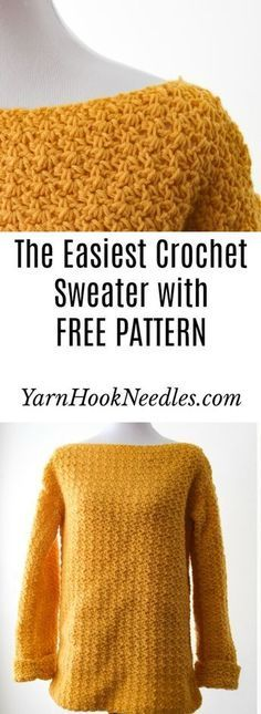 Want to make your first garment but are a little scared? Try this easy beginner crochet sweater pattern for FREE from YarnHookNeedles!