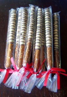 wedding favor peanut butter cup pretzel rods