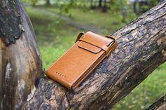 Купить Кожаный чехол для телефона (через плечо) - рыжий, кожаный чехол