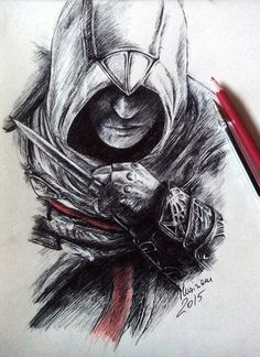 Altair Ibn La'Ahad - ballpoint pen and red pencil by Musiriam on DeviantArt Assassins Creed Dibujos, Tatouage Assassins Creed, Assassins Creed Unity, Cool Art Drawings, Pencil Art Drawings, Desenho Do Assassin's Creed, All Assassin's Creed, Assains Creed, Pencil Sketches Landscape