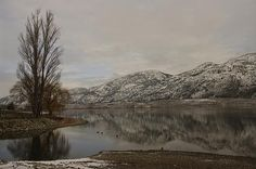 Snow dusted mountians in British Columbia's South Okanagan reflect off a quiet December Osoyoos Lake.