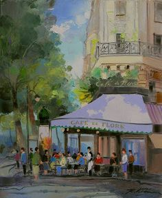Paris, le Cafe de Flore, Saint-Germain-des-Pres by Richard de Premare, French Painter