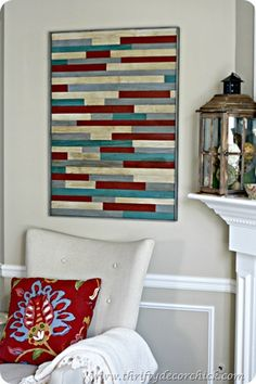 DIY pottery barn wood art.  I love this project..mainly because you could really do almost anything with it and do it in whatever colors you needed for your room.  You can even make larger cuts of wood and make it much more modern looking