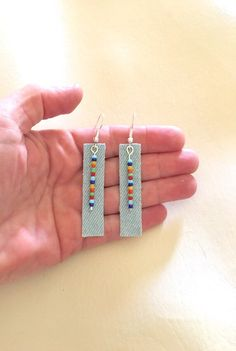 Excited to share this item from my shop: Denim bluejean fabric bar earrings dangle rectangle geometric beaded boho bohemian hippie colorful women statement jewelry blue handmade Denim Earrings, Gold Bar Earrings, Fabric Earrings, Simple Earrings, Dangle Earrings, Leather Earrings, Jewelry For Her, Fine Jewelry, Jewelry Making