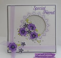8x8 card made using Crafter's Companion Die'sire Create a Card Die - Spring Garden. Designed by Marie Jones #crafterscompanion