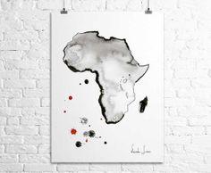 Map Africa Art Print - Watercolor Painting - Watercolor Artwork
