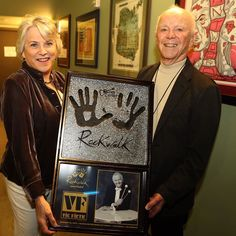 Craigie Zildjian was honored to accept the award on behalf of @vicfirth on his induction into the Guitar Center Rock Walk's Hall of Fame. ..presented by another legend in the percussion industry Remo Belli! Photo thanks to: @xoxohadas @guitarcenter #ZildjianFamily #VicFirth #GuitarCenter #Remo #drumoff #RockWalk by zildjiancompany