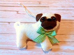 Felt Pug Ornament Felt Pug Plush Dog by BeckyLynnCreations on Etsy