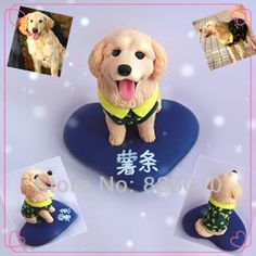 Polymer Clay Golden Retriever Dog Figurine Doll/6CM Fashion Mini Car Decoration /Free shipping-in Stickers from Automobiles & Motorcycles on Aliexpress.com | Alibaba Group