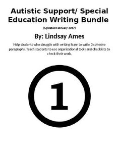 Autistic Support/ Special Education Writing Level 2