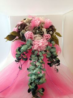 Pink and Camo wedding bouquet from fabric flowers.  Made at Bridgeport Lake Bed and Breakfast