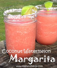 Coconut Watermelon Margaritas: Made with Malibu! YUM!