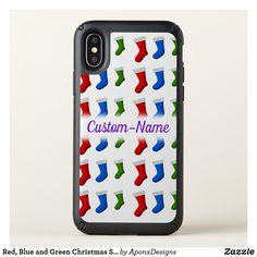 Red, Blue and Green Christmas Stockings + Name Cool Phone Cases, Iphone Case Covers, Green Christmas Stockings, Text Color, Purple, Blue, Red, Rouge