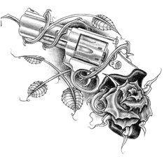Revolver with Rose Tattoo Design Mehr Skull Tattoos, Rose Tattoos, Sexy Tattoos, Body Art Tattoos, Sleeve Tattoos, Gun Tattoos, Tattoo Sketches, Tattoo Drawings, Modern Tattoo Designs