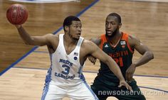 UNC forward Kennedy Meeks (3) moves the ball inside against Miami forward Kamari Murphy (21) in the second half of play during the ACC Men's Basketball Tournament at the Barclays Center in Brooklyn, N.Y. Thursday , March 9, 2017.