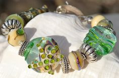 Reserve for Cheryl-STORMY BEACH-Handmade Lampwork and Sterling Silver Bracelet