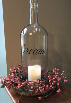Large spring inspired wine bottle led light centerpiece, wine decor, led lights, bottle decor, bottle light, centerpiece, Easter decor by jenascreations45 on Etsy