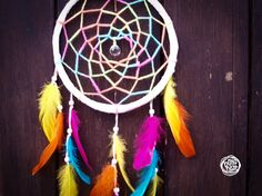 Large Dream Catcher - Rainbow - With Sparkling Crystal Prism, Colorful Web and Colorful Feathers - Boho Home Decor, Nursery Mobile  Rainbow  The Dream