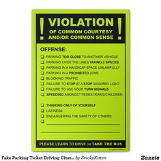 Fake Parking Ticket Driving Citation Post-it® Notes.  I so need these lol
