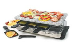 Swissmar KF-77081 Stelvio 8-Person Raclette Party Grill with Granite Stone Grill Top, Brushed Stainless Steel – KITCHEN APPLIANCES