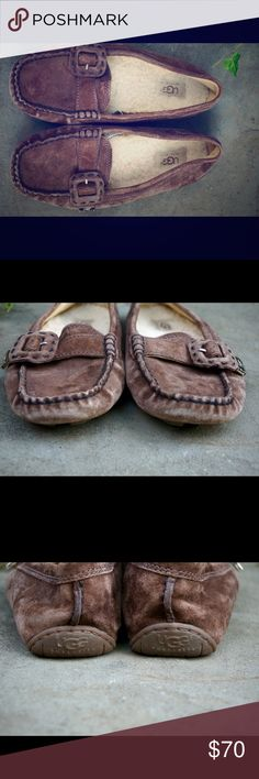 """UGG brown leather Sheerling moccasin shoes size 8 UGG brown leather and Sheerling moccasin style shoes with buckle size 8! Great gently used condition with light rubbing on toe area. Bundle 2 or more items and save 20%!! OR make me a reasonable offer via the """"Offer"""" button! UGG Shoes Moccasins"""