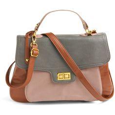 Handle It Satchel (170 BRL) ❤ liked on Polyvore featuring bags, handbags, purses, bolsas, сумки, women, polka dot purse, brown handbags, handbag satchel and brown satchel purse