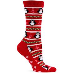 Hot Sox Women's Penguins Non Skid Socks SIZE 9-11 SHOE SIZE 4-10 RED New #HotSox #Crew