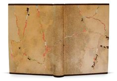 The Somme: An Eyewitness History The Folio Society, 2007 Bound in brown parchment (natural grain) and dark brown morocco. Some parts of reverse transfer print of poppy field are showing through cut-outs imitating the map of trench in the battle which is now poppy field. Made endpapers in parchment paper printed backside. Hand painted paper doublures inlaid with strips of printed paper. Endbands made of leather cores covered in printed Usumino. Bound by Sayaka Fukuda.