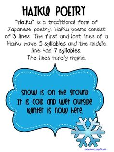 This template gives an outline of writing a haiku poem as well as ...