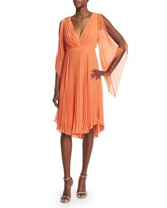 Halston Heritage: Lovely Peach Creation! I like the color, chiffon fabric, and the pleats. Feminine!