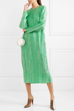 Seafoam plissé-satin  Concealed zip fastening along back 100% polyester Dry clean Designer color: Kelly Green