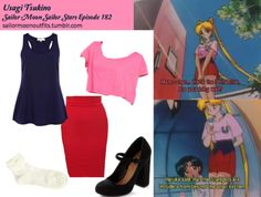 Like Sailor Moon Outfits on Facebook!  Requested by: princesscswizzle Forever 21 knee length bodycon skirt in Red American Apparel loose crop tee in Fuschia River Island longline vest in Navy ModCloth In Haute Pursuit of Style heel in Black Wet Seal crochet ruffle ankle sock in Ivory