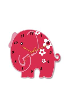 A lovely pink Elephant Clock for you to add a special touch of fun in your child's room!    This acrylic clock is available at an amazing price, only on http://www.gloob.in/clock/elephant-clock-4630.html