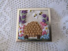 Brooch  Hand embroidered with bee skep and by mariadownunder, $29.00