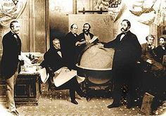 The signing of the Alaska Treaty of Cessation on March 30, 1867. L-R: Robert S. Chew, William H. Seward, William Hunter, Mr. Bodisco, Eduard de Stoeckl, Charles Sumner and Frederick W. Seward. He insisted that by doing so, Russia would avoid any future conflict with the United States, viewing further U.S. expansion in North America as inevitable.