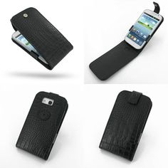 PDair Leather Case for Samsung Galaxy Grand Duos GT-i9082 GT-i9080 - Flip Top Type (Black/Crocodile Pattern)